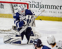 10 February 2017: University of New Hampshire Wildcat Goaltender Danny Tirone, a Junior from Trumbull, CT, makes a third period save against the University of Vermont Catamounts at Gutterson Fieldhouse in Burlington, Vermont. The Wildcats came from behind to defeat the Catamounts 4-2 in the first game of their 2-game Hockey East Series. Mandatory Credit: Ed Wolfstein Photo *** RAW (NEF) Image File Available ***