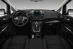 Stock photo of straight dashboard view of 2017 Ford C-Max Energi-Titanium 5 Door Mini MPV Dashboard