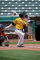 Preston Palmeiro (3) of the Salt Lake Bees at bat against the Las Vegas Aviators at Smith's Ballpark on June 27, 2021 in Salt Lake City, Utah. The Aviators defeated the Bees 5-3. (Stephen Smith/Four Seam Images)