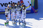 FIS Alpine World Ski Championships 2021 Cortina . Cortina d'Ampezzo, Italy on February 17, 2021. Alpine Team Event, team, mixed: Stefan Luitz (2nd from right) Emma Aicher (2nd from left) Andrea Filser (l) Alexander Schmid (r) from Germany win the bronze medal in the team competition