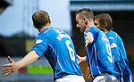 St Johnstone v Aberdeen…22.04.16  McDiarmid Park, Perth<br />Steven MacLean celebrates his goal with Steven Anderson and Murray Davidson<br />Picture by Graeme Hart.<br />Copyright Perthshire Picture Agency<br />Tel: 01738 623350  Mobile: 07990 594431