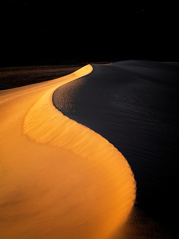 First light on sand dunes. Death Valley National Park, California