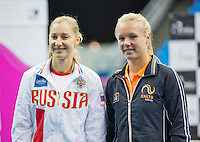 Moskou, Russia, Februari 4, 2016,  Fed Cup Russia-Netherlands,  Draw Ceremony, first single: Ekaterina Makarova (RUS) vs Kiki Bertens (NED)<br /> Photo: Tennisimages/Henk Koster