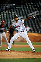 Birmingham Barons relief pitcher Luis Martinez (16) during a Southern League game against the Chattanooga Lookouts on May 1, 2019 at Regions Field in Birmingham, Alabama.  Chattanooga defeated Birmingham 5-0.  (Mike Janes/Four Seam Images)