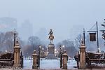 Evening snowfall in the Boston Public Garden, Boston, Massachusetts, USA