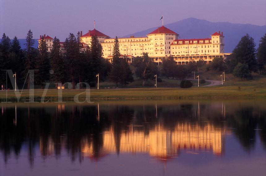 AJ1447, resort, Bretton Woods, New Hampshire, White Mountains Region, Historic Mount Washington Hotel reflects in the pond in Bretton Woods, New Hampshire.