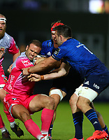 2nd October 2020; RDS Arena, Dublin, Leinster, Ireland; Guinness Pro 14 Rugby, Leinster versus Dragons; Jamie Roberts (Dragons) attempts to hang on to the ball under pressure from Josh van der Flier (Leinster) and Jack Conan (Leinster)