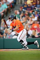 Richmond Flying Squirrels catcher Aramis Garcia (14) follows through on a swing during a game against the Trenton Thunder on May 11, 2018 at The Diamond in Richmond, Virginia.  Richmond defeated Trenton 6-1.  (Mike Janes/Four Seam Images)