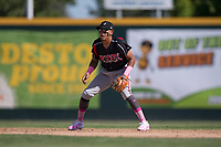 Lake Elsinore Storm shortstop Kevin Melean (17) during a California League game against the Modesto Nuts at John Thurman Field on May 13, 2018 in Modesto, California. Lake Elsinore defeated Modesto 4-3. (Zachary Lucy/Four Seam Images)