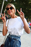 Alessia Marcuzzi outside the Alberta Ferretti Fashion Show as part of the Milan's Fashion Week Women's wear Spring Summer 2019, in Milan on September 19, 2018.