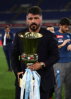 Napoli's head coach Gennaro Gattuso holds the trophy at the end of the Italian Cup football final match between Napoli and Juventus at Rome's Olympic stadium, June 17, 2020. Napoli won 4-2 at the end of a penalty shootout following a scoreless draw.<br /> UPDATE IMAGES PRESS/Isabella Bonotto