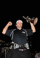 Nov. 13, 2011; Pomona, CA, USA; NHRA top fuel dragster driver Del Worsham celebrates after winning the Auto Club Finals at Auto Club Raceway at Pomona. Mandatory Credit: Mark J. Rebilas-.