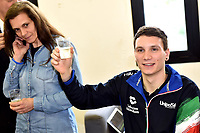 Roma 13-3-2019 Centro Federale di Ostia <br /> Swimmer Manuel Bortuzzo and his mother Rossella Corona make a toast at the end of a meeting with the press. Manuel Bortuzzo was shot in the back due to a mistaken identity and is paralysed from the waist down since then. This is the first outing of Manuel from the hospital and the rehabilitation center.  <br /> Foto Andrea Staccioli / Deepbluemedia / Insidefoto