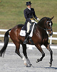 17 October 2008:  Rider Cayla Kitayama and Esker Riada sit in 12th-place after the dressage section of the Fair Hill International CCI*** Championship at Fair Hill Equestrian Center in Fair Hill, Maryland.  Dressage is the first stage of the three-day event.