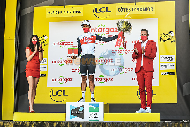 Edward Theuns (BEL) Trek-Segafredo wins the days combativity prize at the end of Stage 2 of the 2021 Tour de France, running 183.5km from Perros-Guirec to Mur-de-Bretagne Guerledan, France. 27th June 2021.  <br /> Picture: A.S.O./Charly Lopez | Cyclefile<br /> <br /> All photos usage must carry mandatory copyright credit (© Cyclefile | A.S.O./Charly Lopez)