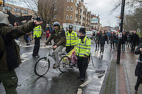March For Homes protest from South London to City Hall. 31-1-15 Housing campaigners take to the streets and March from different locations from East and South london to City hall. As the march finished activists briefly occupied and luxury flat developement near City hall. There then followed a march to the derelict Aylesbury Estate where boarded up homes were re occupied.