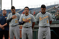 ***Temporary Unedited Reference File***Montgomery Biscuits Willy Adames (12), Kean Wong (4) and Juniel Querecuto (5) during a game against the Chattanooga Lookouts on May 2, 2016 at AT&T Field in Chattanooga, Tennessee.  Chattanooga defeated Montgomery 9-6.  (Mike Janes/Four Seam Images)