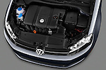 High angle engine detail of a 2010 Volkswagen Jetta SportWagen S .