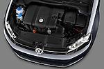 High angle engine detail of a 2010 Volkswagen Jetta SportWagen S .