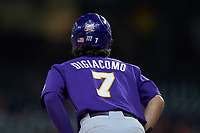 Giovanni DiGiacomo (7) of the LSU Tigers takes his lead off of third base against the Baylor Bears in game five of the 2020 Shriners Hospitals for Children College Classic at Minute Maid Park on February 28, 2020 in Houston, Texas. The Bears defeated the Tigers 6-4. (Brian Westerholt/Four Seam Images)