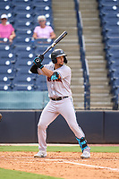 Jupiter Hammerheads Joe Dunand (23) bats during a game against the Tampa Tarpons on July 2, 2021 at George M. Steinbrenner Field in Tampa, Florida.  (Mike Janes/Four Seam Images)