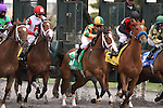 Eventual winner, Summer Soiree with Gabriel Saez up breaks from the 5 hole to win the 29th running of The Bourbonette Oaks (grIII) at Turfway Park. Florence, KY. 2011.03.26.