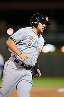 Mesa Solar Sox outfielder Austin Dean (12) runs the bases on a Willson Contreras (not shown) home run during an Arizona Fall League game against the Scottsdale Scorpions on October 20, 2015 at Scottsdale Stadium in Scottsdale, Arizona.  Mesa defeated Scottsdale 5-4.  (Mike Janes/Four Seam Images)