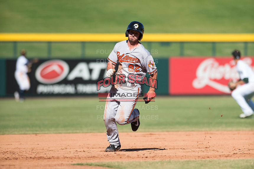 Glendale Desert Dogs center fielder Ryan McKenna (82), of the Baltimore Orioles organization, runs to third base during an Arizona Fall League game against the Mesa Solar Sox at Sloan Park on October 27, 2018 in Mesa, Arizona. Glendale defeated Mesa 7-6. (Zachary Lucy/Four Seam Images)