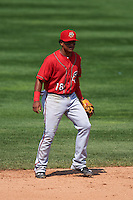 Harrisburg Senators shortstop Wilmer Difo (18) during a game against the Erie Seawolves on August 30, 2015 at Jerry Uht Park in Erie, Pennsylvania.  Harrisburg defeated Erie 4-3.  (Mike Janes/Four Seam Images)