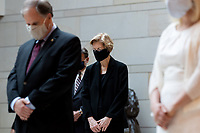 United States Senator Elizabeth Warren (Democrat of Massachusetts), observing a moment of silence during an event commemorating the life of George Floyd, Ahmaud Arbery and Breonna Taylor and to stand in solidarity with Americans all across the country peacefully protesting racial injustice in the Emancipation Hall of the Capitol Visitor Center on Capitol Hill in Washington, District of Columbia on Thursday, June 4, 2020. <br /> Credit: Ting Shen / CNP/AdMedia