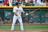 Tommy Field (12) of the Salt Lake Bees at bat against the Reno Aces in Pacific Coast League action at Smith's Ballpark on July 24, 2014 in Salt Lake City, Utah.  (Stephen Smith/Four Seam Images)