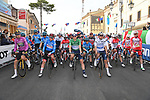 The peloton ready for the start of Stage 5 of Tirreno-Adriatico Eolo 2021, running 205km from Castellalto to Castelfidardo, Italy. 14th March 2021. <br /> Photo: LaPresse/Gian Mattia D'Alberto | Cyclefile<br /> <br /> All photos usage must carry mandatory copyright credit (© Cyclefile | LaPresse/Gian Mattia D'Alberto)