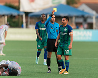 HARTFORD, CT - JULY 10: Danny Barrera #10 of Hartford Athletic receives yellow card during a game between New York Red Bulls II and Hartford Athletics at Dillon Stadium on July 10, 2021 in Hartford, Connecticut.