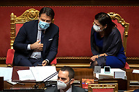 The Italian Premier Giuseppe Conte and the Minister of Trasport Paola De Micheli during the information at the Senate about the government crisis.<br /> Rome(Italy), January 19th 2021<br /> Photo Pool Antonio Masiello/Insidefoto