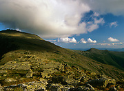 Cloud cover engulfs Mount Washington  from Clay Loop Trail in Thompson and Meserve's Purchase in the New Hampshire White Mountains on a cloudy day.