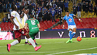 BOGOTA -COLOMBIA, 22-02-2017. Ayron Del Valle player of Millonarios scores his goal agaisnt Tolima.Action game beteween  Millonarios  and Tolima  during match for the date 5 of the Aguila League I 2017 played at Nemesio Camacho El Campin stadium . Photo:VizzorImage / Felipe Caicedo  / Staff