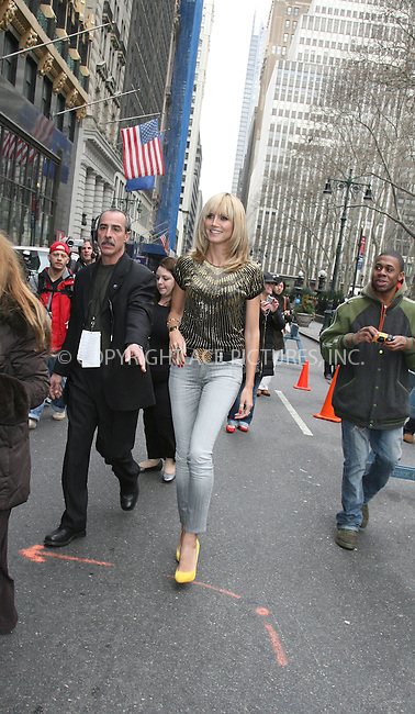 WWW.ACEPIXS.COM ** ** ** ....February 8 2008, New York City....Model and TV personality Heidi Klum left Mercedes Benz NY Fashion Week and went up to the Waldorf Astoria in midtown Manhattan....Please byline: Philip Vaughan -- ACEPIXS.COM.. *** ***  ..Ace Pictures, Inc:  ..tel: (646) 769 0430..e-mail: info@acepixs.com..web: http://www.acepixs.com