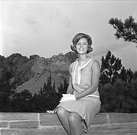 1966 Miss South Dakota, Deborah Ann Molitor at Rushmore and with official Toronado