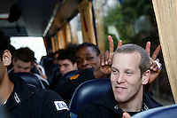 Photo: Richard Lane/Richard Lane Photography. London Wasps depart for Abu Dhabi for their LV= Cup game against Harlequins on 30st January 2011. 25/01/2011. London Wasps' Dave Walder on the coach to Heathrow airport.