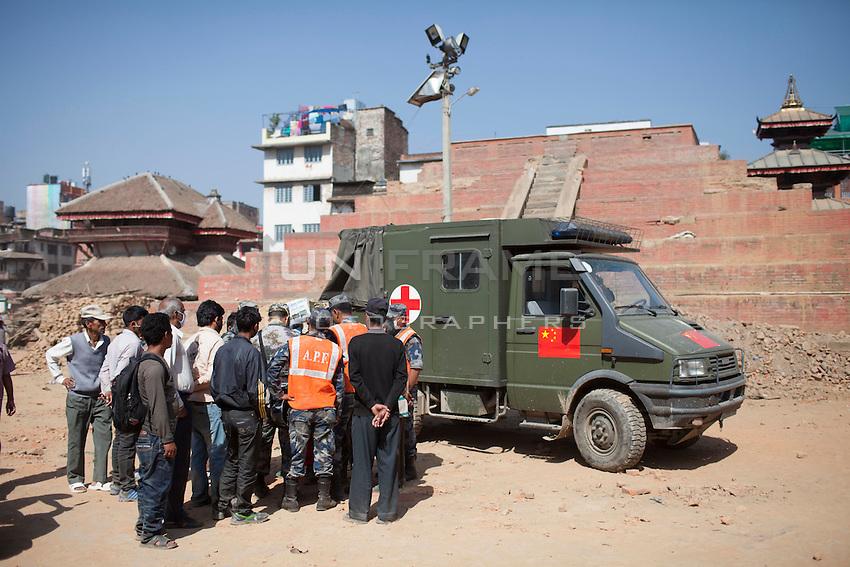 Rescue workers gathered at Kathmandu Durbar Square for excavation at Kathmandu, Nepal. May 03, 2015