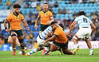 2nd October 2021, Cbus Super Stadium, Gold Coast, Queensland, Australia;  Australia prop Taniela Tupou is stopped. Australian Wallabies versus Argentina Pumas. Rugby Championship test match. Rugby Union. Gold Coast, Australia.