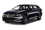 2020 Skoda Superb 5 Door Wagon Angular Front automotive stock photos of front three quarter view