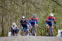 Niki Terpstra (NED/Total - Direct Energie) & Adrien Petit (FRA/Total Direct Energie) surfacing up the Kemmelberg<br /> <br /> 83rd Gent-Wevelgem - in Flanders Fields (ME - 1.UWT)<br /> 1 day race from Ieper to Wevelgem (BEL): 254km<br /> <br /> ©kramon