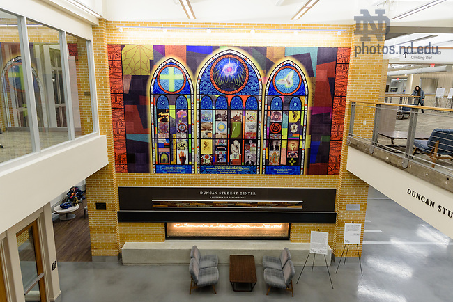 January 23, 2019; Prevalence; Sacred Traces Mural in the Duncan Student Center. (Photo by Katie Whitcomb/University of Notre Dame)
