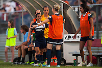 Sky Blue FC forward Monica Ocampo (8) is greeted by teammates after being subbed out shortly after scoring. Sky Blue FC defeated the Washington Spirit 1-0 during a National Women's Soccer League (NWSL) match at Yurcak Field in Piscataway, NJ, on July 6, 2013.
