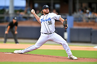 Asheville Tourists starting pitcher R.J. Freure (36) delivers a pitch during a game against the Greenville Drive on July 18, 2021 at McCormick Field in Asheville, NC. (Tony Farlow/Four Seam Images)