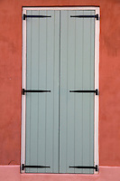 French Quarter, New Orleans, Louisiana.  Shuttered Door of a Creole Cottage.