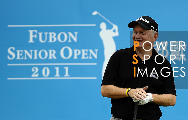 TAIPEI, TAIWAN - NOVEMBER 19:  Roger Chapman of England smiles on the 1st tee during day two of the Fubon Senior Open at Miramar Golf & Country Club on November 19, 2011 in Taipei, Taiwan. Photo by Victor Fraile / The Power of Sport Images