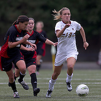 Boston College midfielder Kristen Mewis (19) brings the ball forward. Boston College defeated North Carolina State,1-0, on Newton Campus Field, on October 23, 2011.