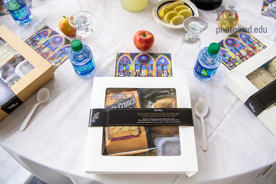 January 22, 2018; 2018 MLK Luncheon featured box lunches so that unopened boxes could be donated the same day to local charitable organizations. (Photo by Matt Cashore/University of Notre Dame)